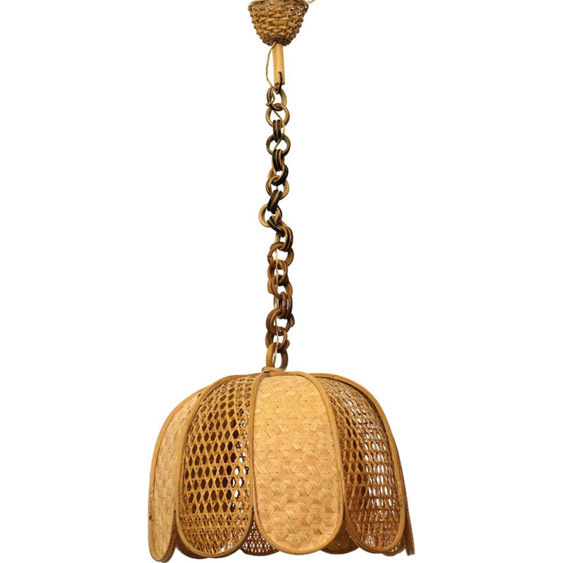 Wooden and braided wicker pendant lamp