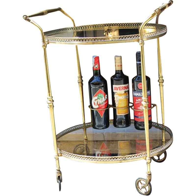 Italian brass and glass serving trolley