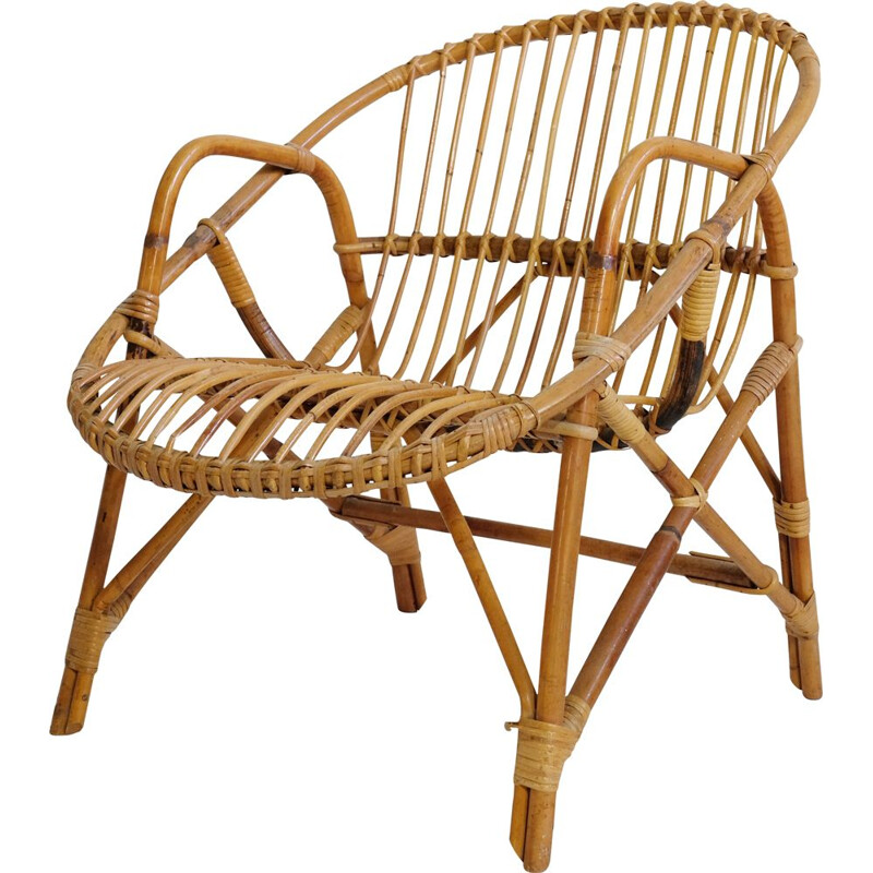 Vintage basket armchair in rattan