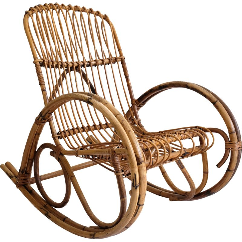 Vintage rocking chair in rattan