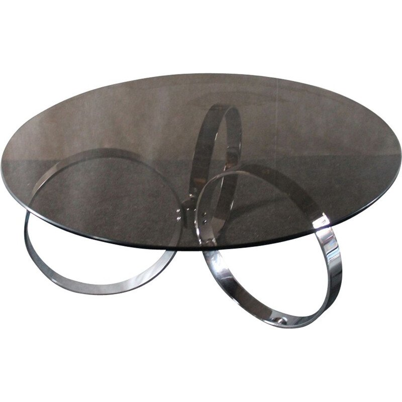 Italian vintage coffee table in chromed metal