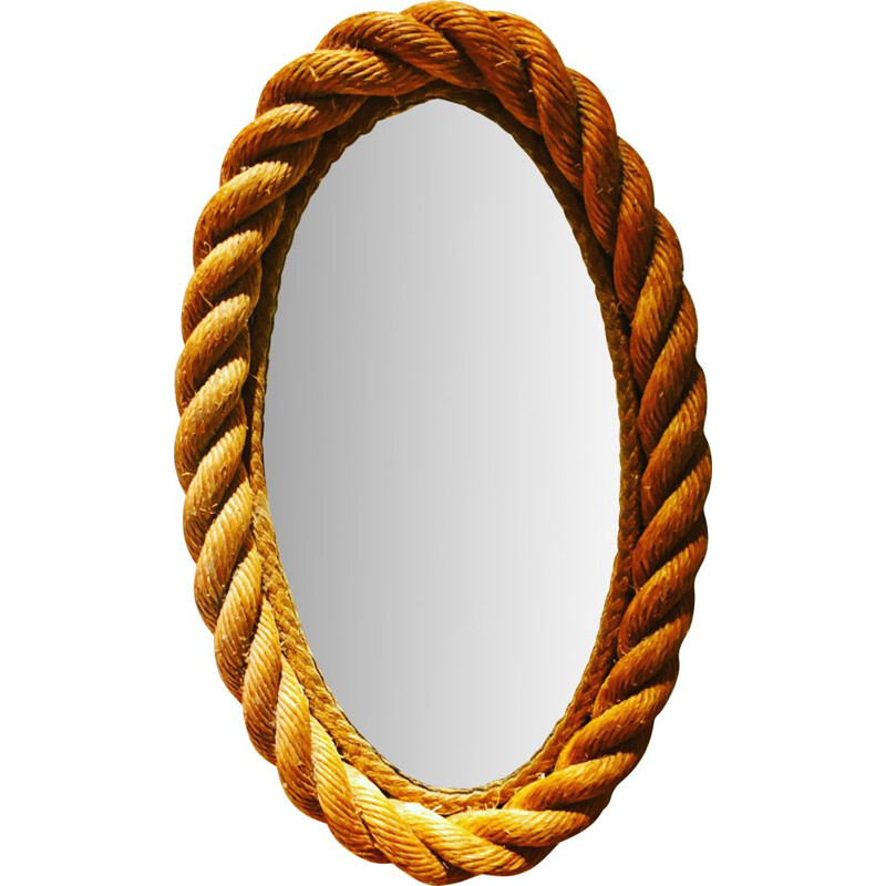 Vintage oval mirror in rope by Audoux & Minet