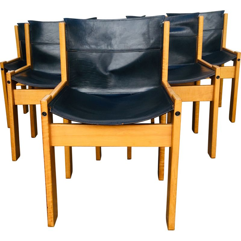 Set of 6 vintage chairs in black leather by Ibisco