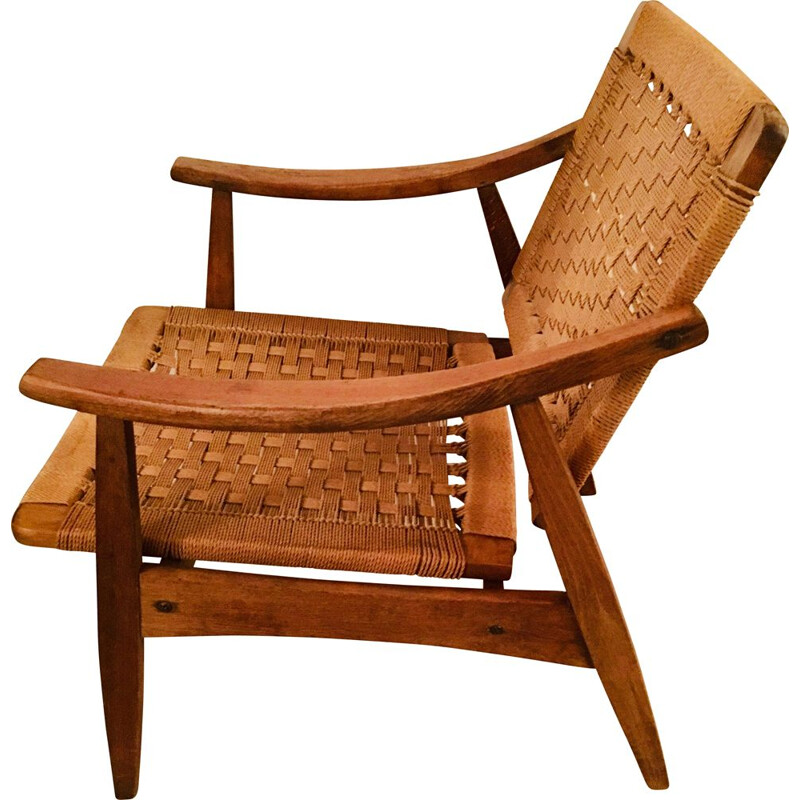 Vintage armchair in rope and wood