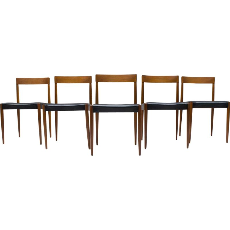 Set of 5 Scandinavian chairs in teak and leather