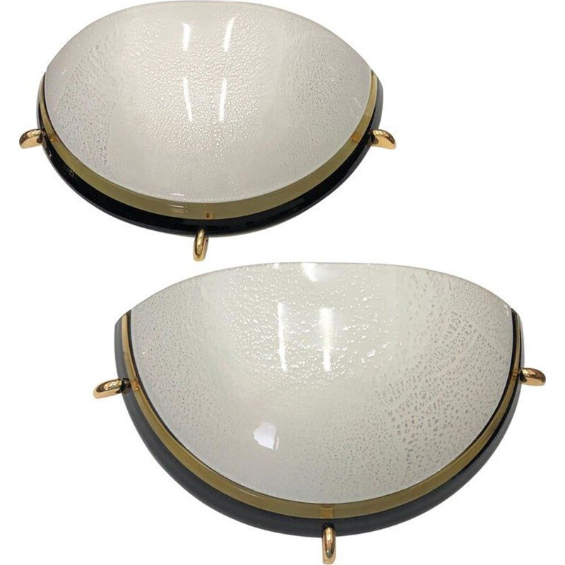 Set of 2 vintage Italian wall lamp in brass and glass,1970