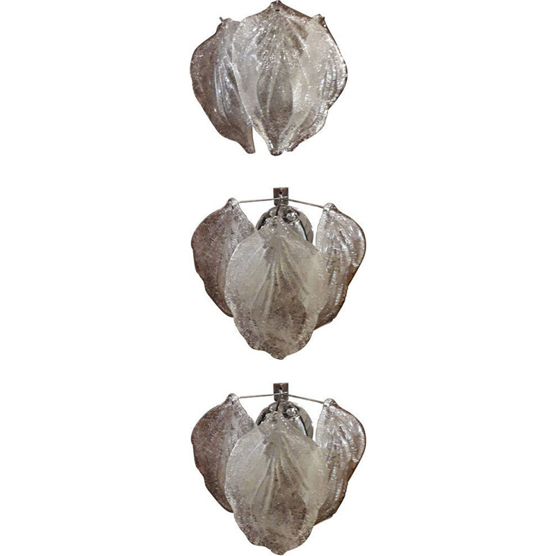 Set of 3 vintage wall lamps in Murano glass