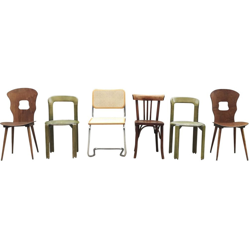 Set of 6 mismatched vintage chairs 1960s