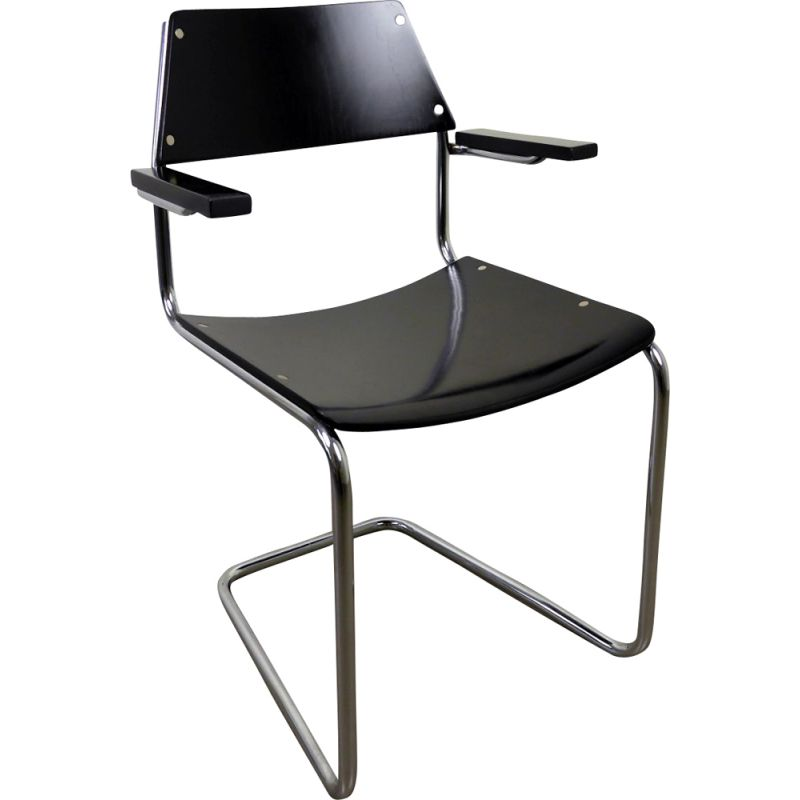 Vintage armchair steel tube Cantilever by Walter Papst for Mauser Werke, 1950s