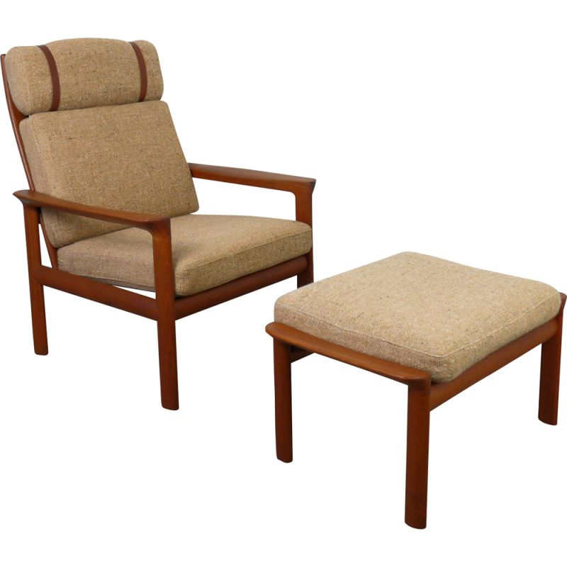 Vintage lounge chair & ottoman in teak by Sven Ellekaer for Komfort, Denmark, 1970s