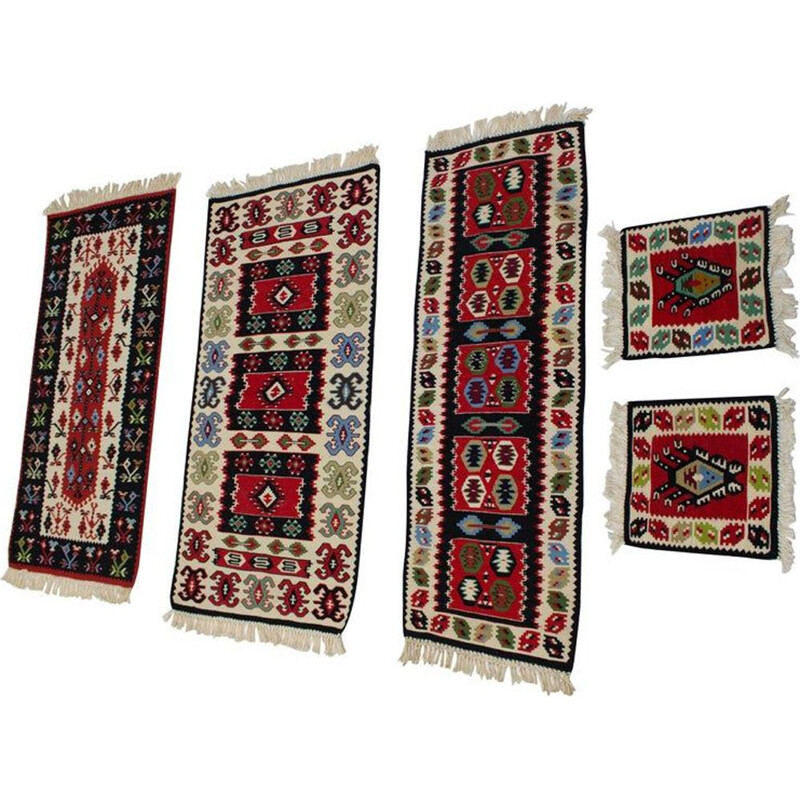 Vintage collection of 5 Wool Kilim Rugs 1960s