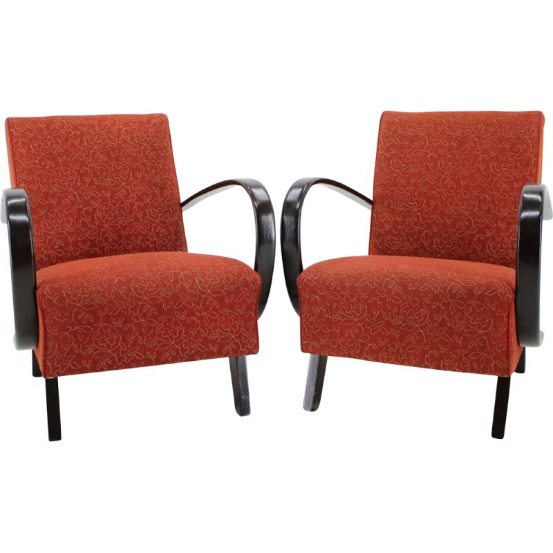 Vintage set of 2 armchairs by Jindrich Halabala 1950s