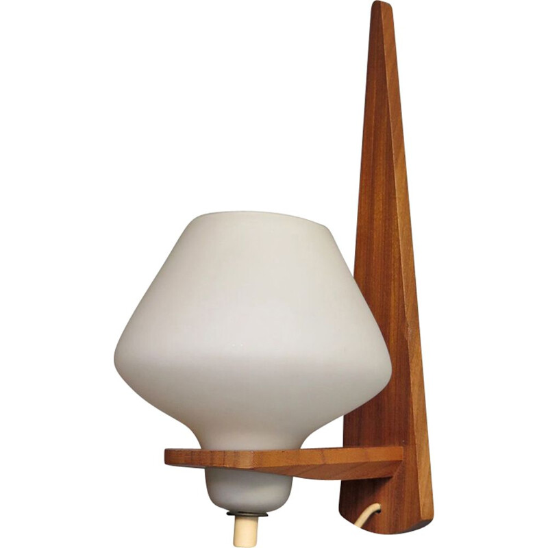 Vintage teak and opaline glass wall lamp
