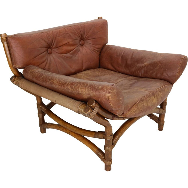 Vintage armchair in brown leather and bamboo