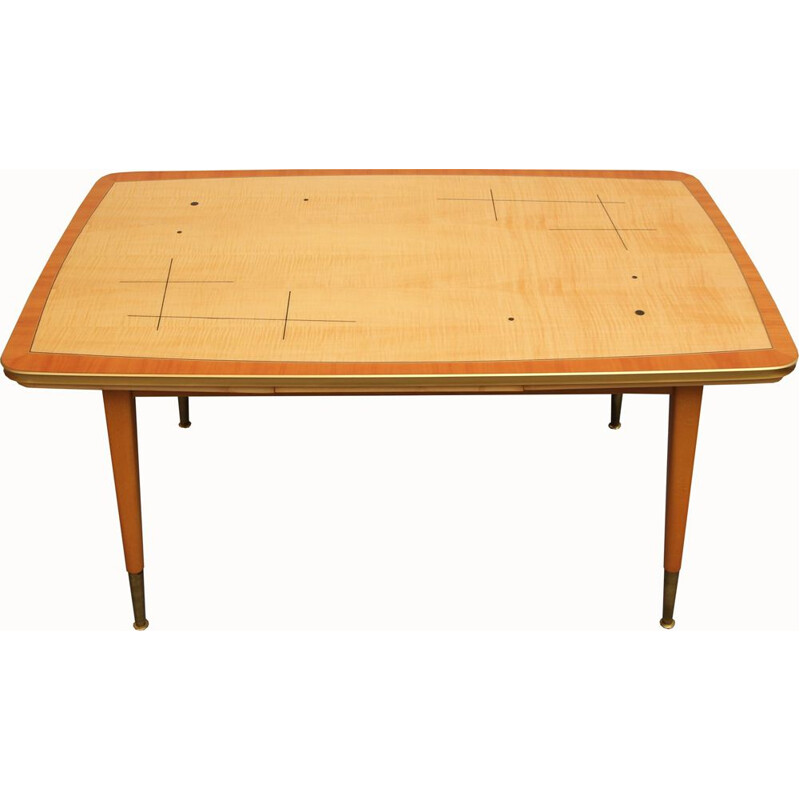 Vintage coffee table in maple and brass