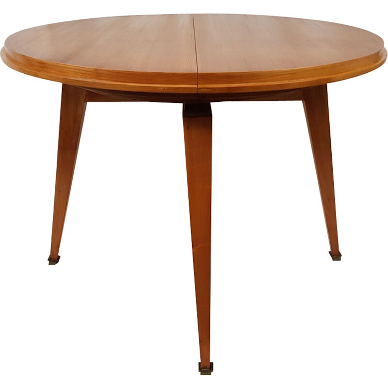 Vintage beech round table by Robert Debieve for Minvielle