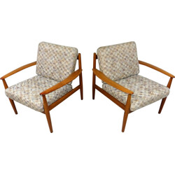 France & Son easy chairs in teak and fabric, Grete JALK - 1960s