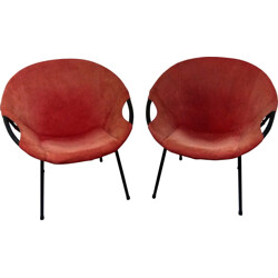 Lusch & Co pair of low chairs in suede leather and steel - 1960s