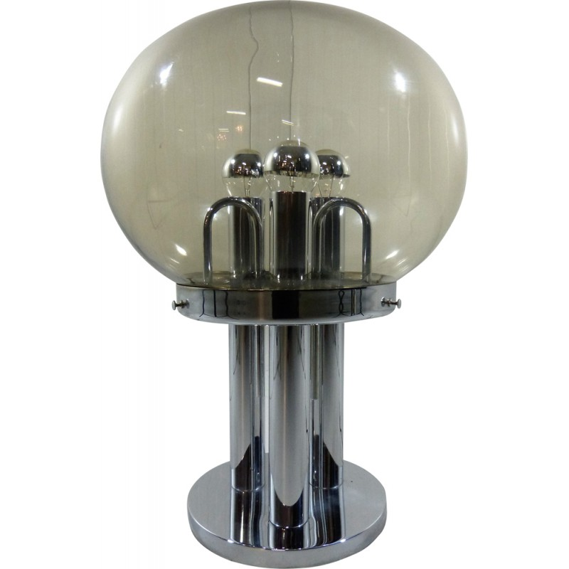 Big Table Lamp In Chromium And Smoked Glass   1960s