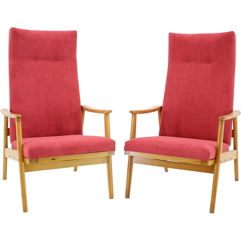 Pair of pink armchairs in beechwood for Thon