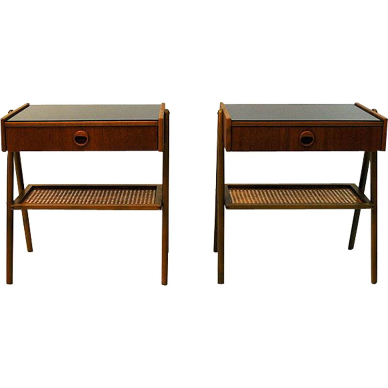 Pair of vintage bedside tables in teak and glass