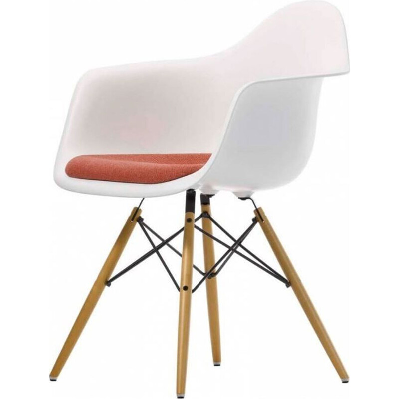 """Plastic Armchair DAW"" with seat upholstery by Charles and Ray Eames for VITRA"