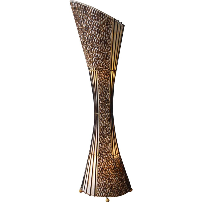 Vintage ethnic wooden and metal floor lamp,1980