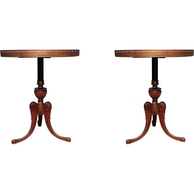 2 small vintage coffee tables in walnut wood and brass,1950