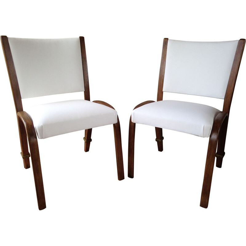 Pair of vintage Bow-Wood chairs by Wilhelm Von Bode for Steiner 50s