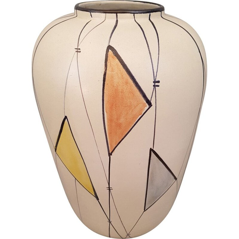 Vintage vase in ceramic with geometric patterns in the 1960s