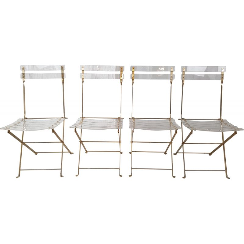 Suite of 4 vintage chairs folding golden by Yonel Lebovici and Bernard Berthet for Marais International 1970