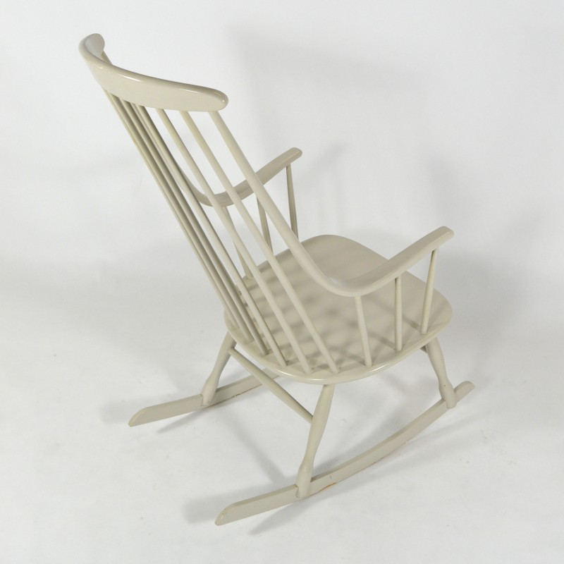 Neston Grandessa white rocking chair in wood, Lena LARSSON - 1950s ...