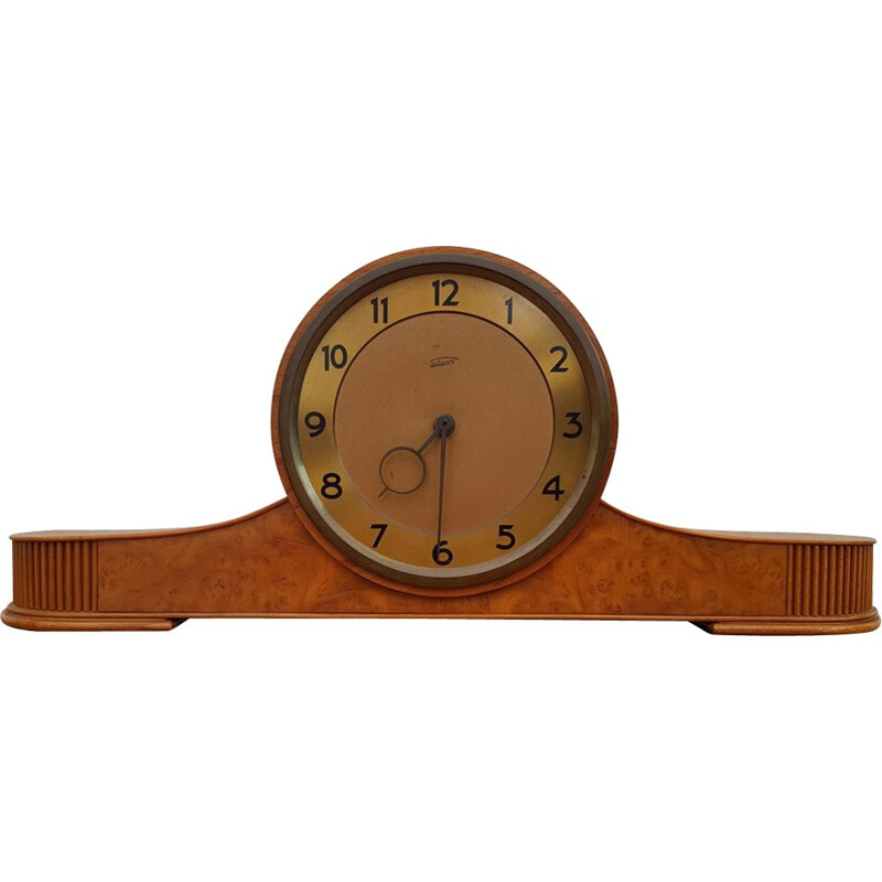 Vintage teak and brass clock 1960s