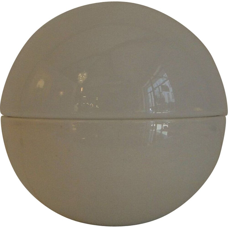 Vintage ceramic and opaline globe lamp 1970s