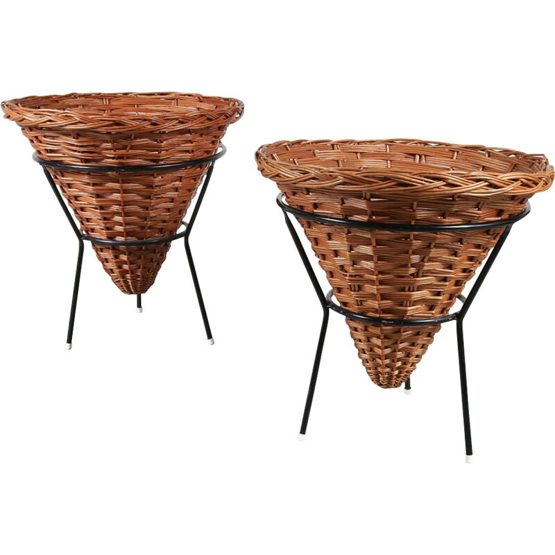 Vintage display basket in rattan by Dirk van Sliedregt for Gebroeders Jonkers, the Netherlands 1950s