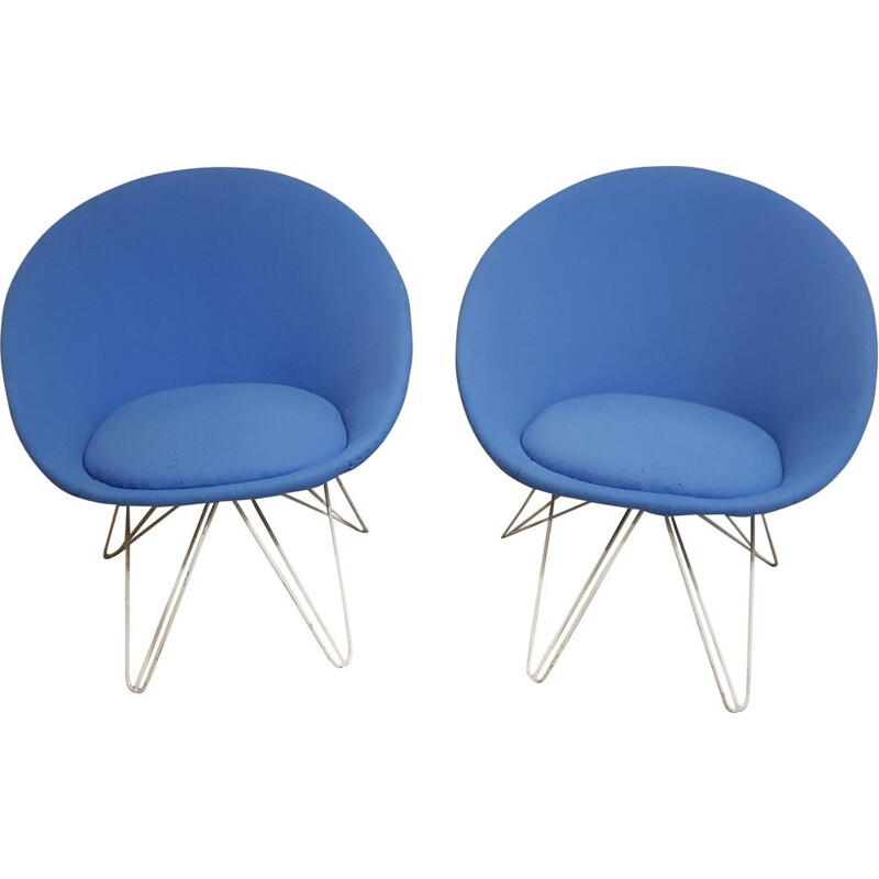 Pair of vintage blue low armchair 1950