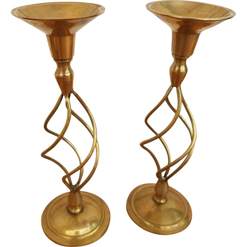 Vintage set of brass lamps & candle holder 1960s