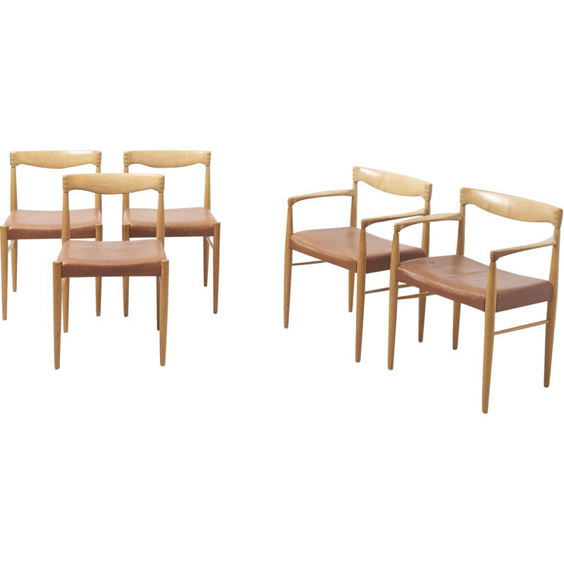 Set of 5 vintage dining chairs in oak by H.W. Klein for Bramin Denmark 1960s