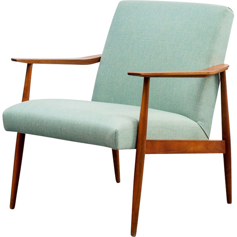 Vintage armchair in walnut mint green upholstery 1960s