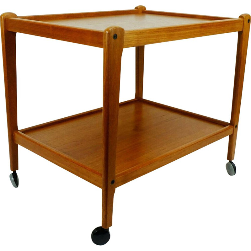 Vintage trolley serving cart in teak Denmark 1960s