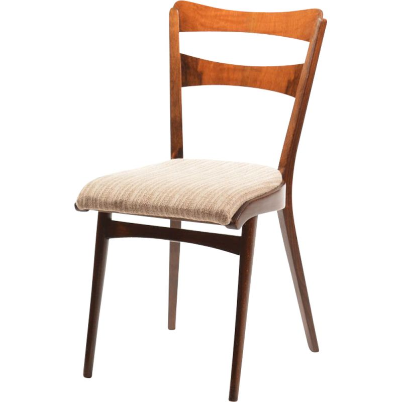 Set of 4 vintage dining chair in walnut by Ton, Czechoslovakia 1960s