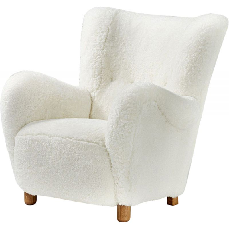 Vintage armchair in sheepskin,1940