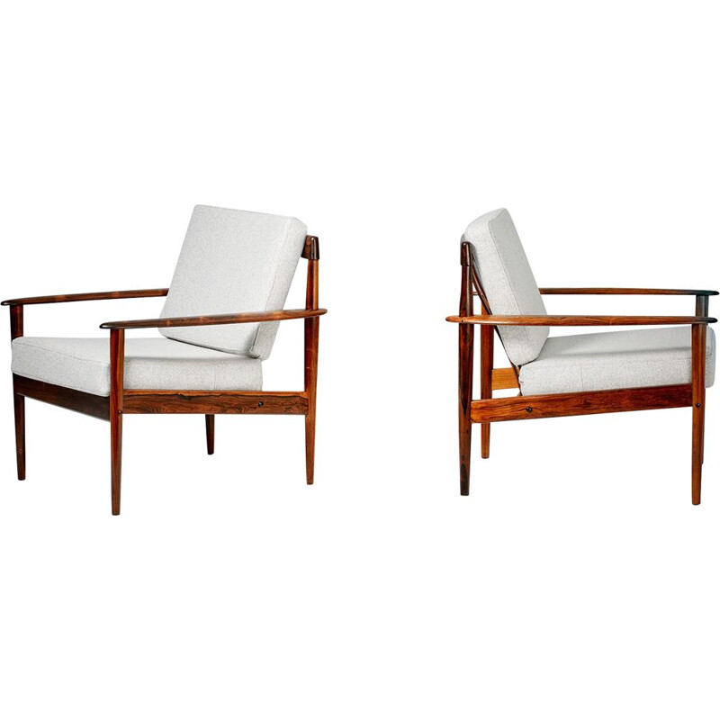 Vintage pair of lounge chairs in rosewood by Grete Jalk,1956