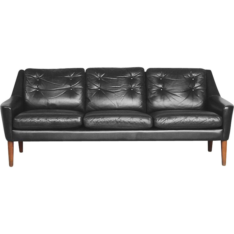 Vintage Black Leather 3 seater sofa by Ulferts Tibro 1960s