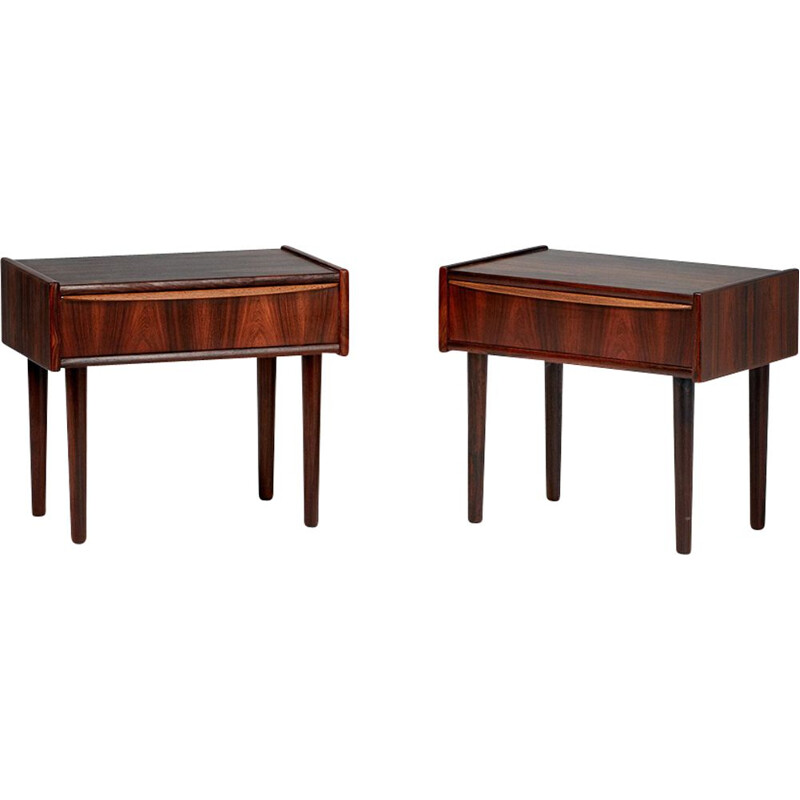 Set of 2 vintage Danish rosewood bedside tables