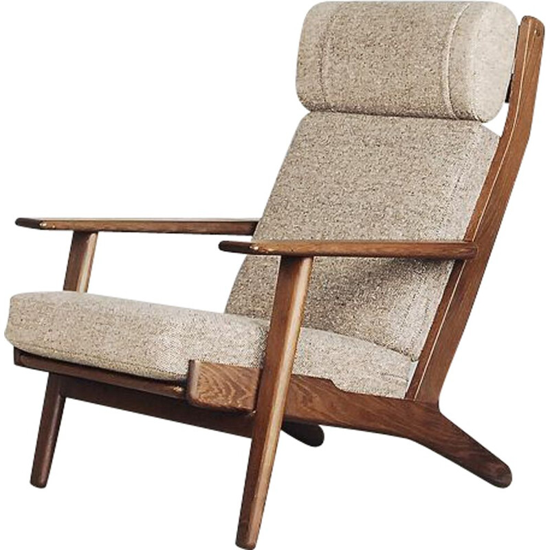 Vintage GE 290 high-back oak wool chair by Hans J. Wegner for Getama