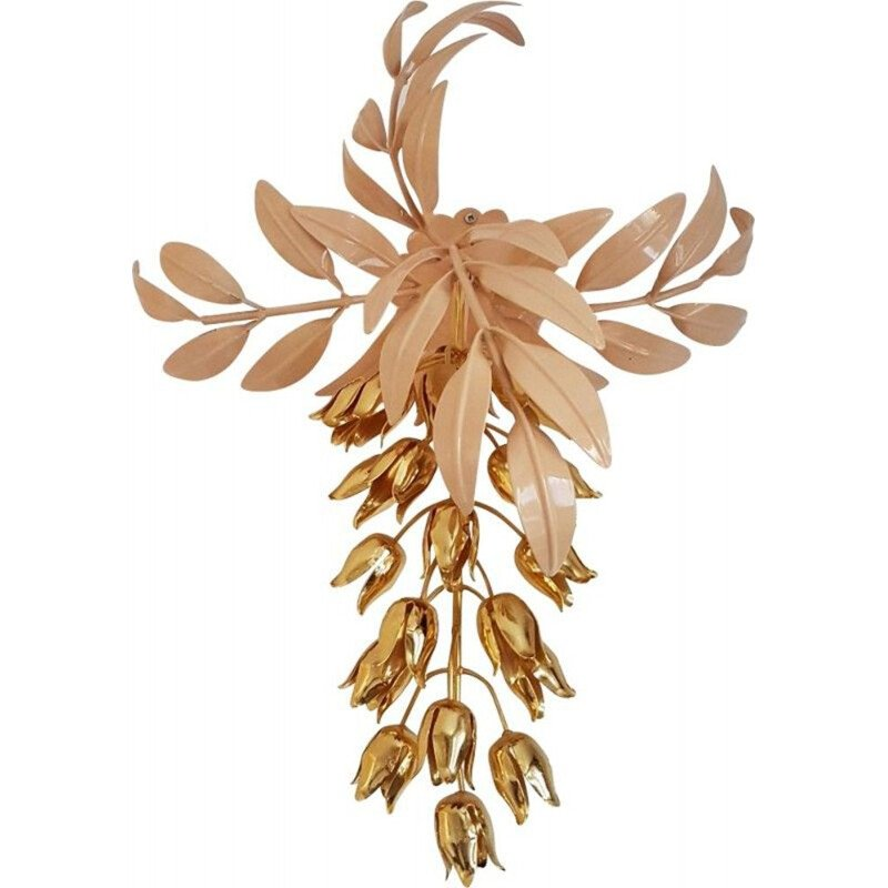 Vintage gold plated wall lamp with Wisteria flowers by Hans Kögl