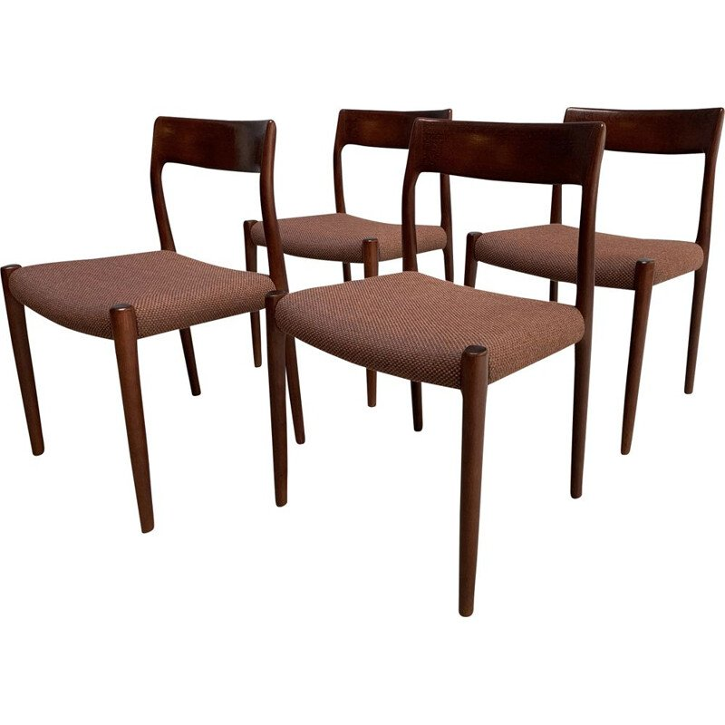 Set of 4 vintage rosewood chairs by N.O.Moller 1960