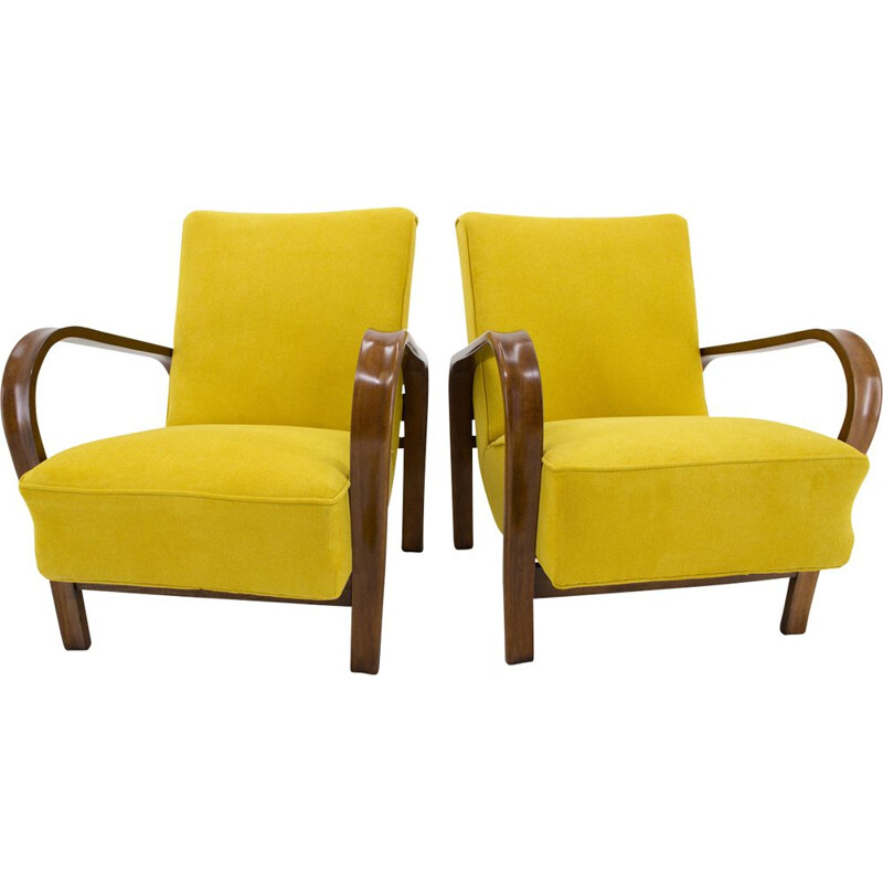 Pair of yellow armchairs by Karel Kozelka and Antonin Kropacek
