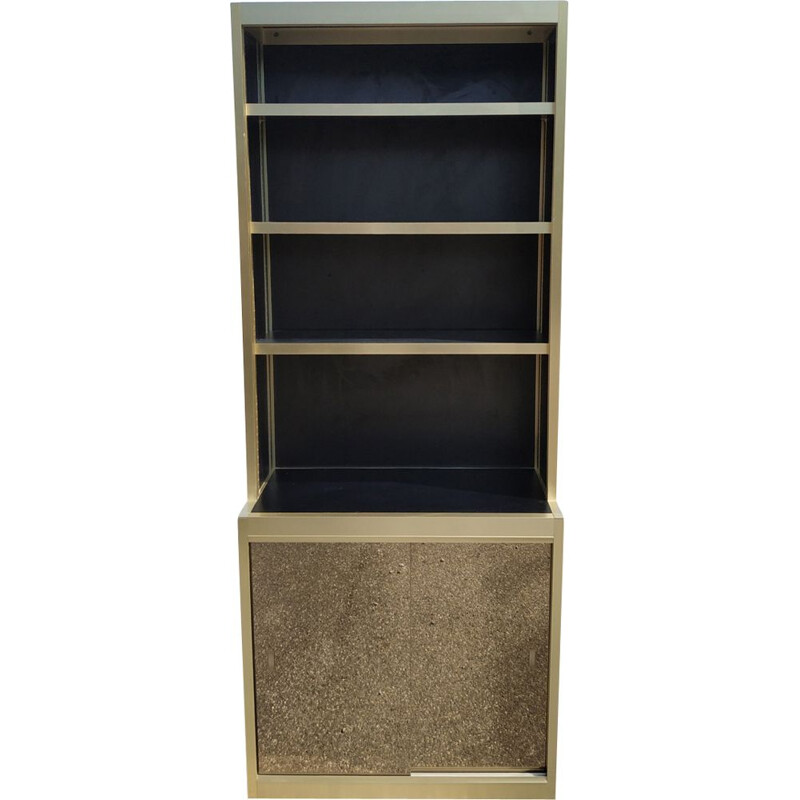 Vintage bookcase in gold metal and black lacquered wood